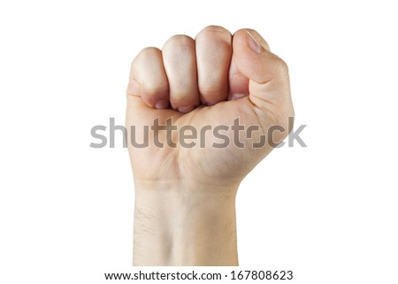 Raised up Clenched Fist, Isolated on White Background