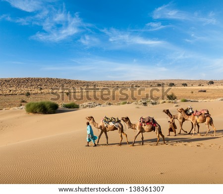 Rajasthan travel background - two Indian cameleers (camel drivers ...
