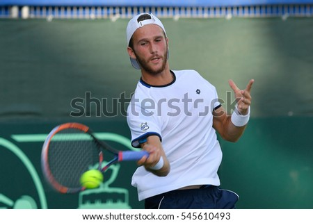 Ramat HaSharon, ISRAEL - October 28-30, 2016 Davis Cup match: Israel vs Sweden. Edan Leshem (Israel) during the match against Isak Arvidsson (Sweden) at Canada Stadium in Ramat HaSharon Tennis Center