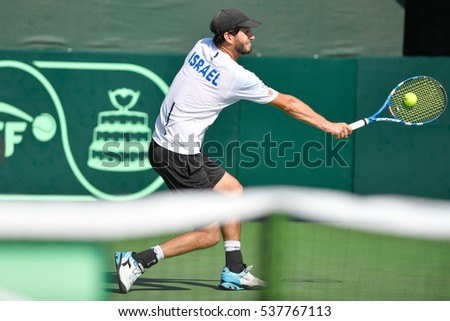 Ramat HaSharon, ISRAEL - October 28-30, 2016: Professional tennis player Amir Weintraub from Israeli national team in action during the Davis Cup at Ramat HaSharon Tennis Center in Israel