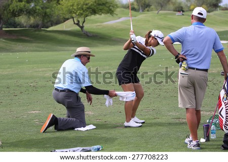 RANCHO MIRAGE, CALIFORNIA - MARCH 31, 2015 : David Leadbetter and Lydia Ko at the ANA inspiration golf tournament on LPGA Tour, March 31, 2015 at The Mission Hills country club, Rancho Mirage, Ca