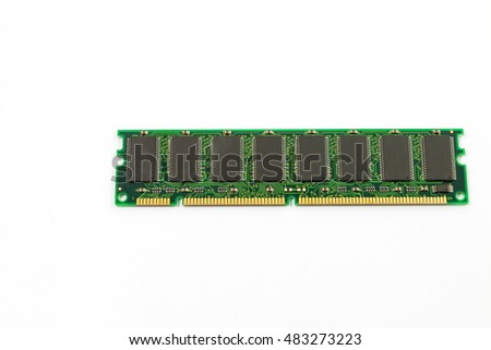 Random access memory(RAM), SDRAM on white background.