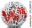 Random letters from word business forming a sphere - stock photo