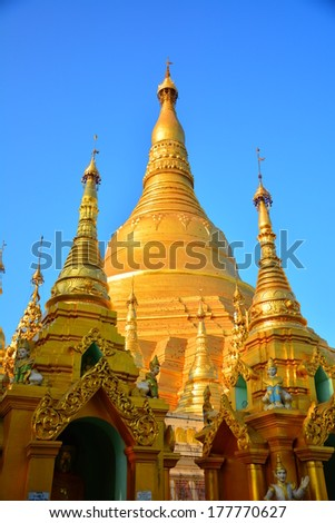 RANGOON, MYANMAR - 15 FEB 2014 : Shwedagon Pagoda in Rangoon. The famous chedi which is decorated with tons of jewelry. It also one of 5 greatest holy places in Myanmar