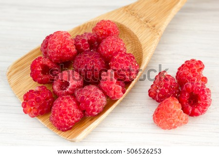 Raspberries on the table
