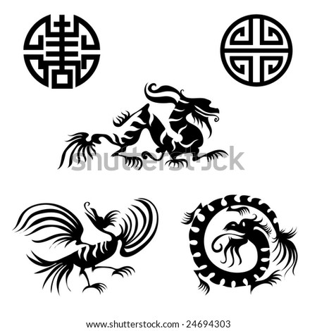 RASTER Chinese design elements - dragon, bird