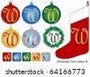 Raster Christmas Font Letter W - stock photo