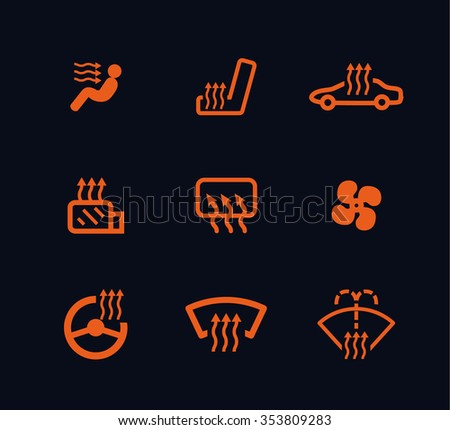 Vector Collection White Car Dashboard Panel Stock Vector - Car sign on dashboard