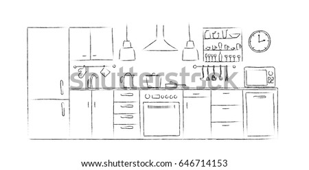 Kitchen Interior Sketches Hand Drawing Front View Contour Illustration Kitchen Furniture And