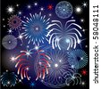 Raster Illustration for the 4th of July Independence Day Background. - stock photo