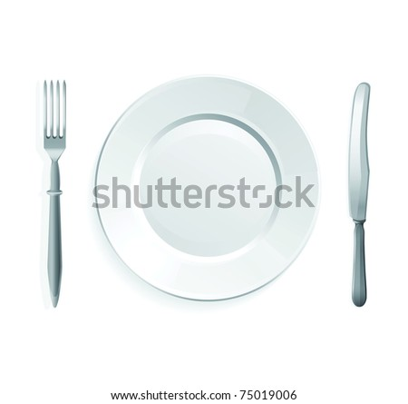 Raster illustration of knife, fork and white plate,isolated on white background.