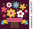 Raster Mothers Day card in bright colors, with vintage ribbon banner and retro style flowers. Also great for easter, thank you, birthday, social media, web banner. - stock photo