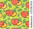 RASTER seamless grunge pattern with apples - stock photo