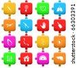 Raster set of puzzle - stock photo