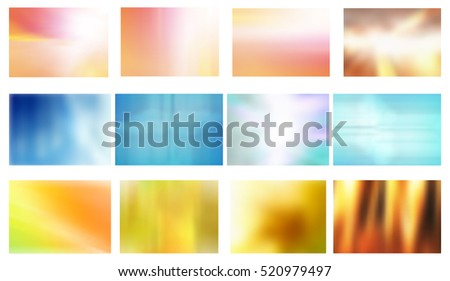 Raster Set of twelve Abstract Blurred Backgrounds, Vector Version Available