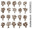 RASTER set of twenty cute decorative trees from leafs. Thanksgiving - stock photo