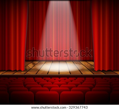 Raster version. A theater stage with a red curtain, seats and a spotlight. .