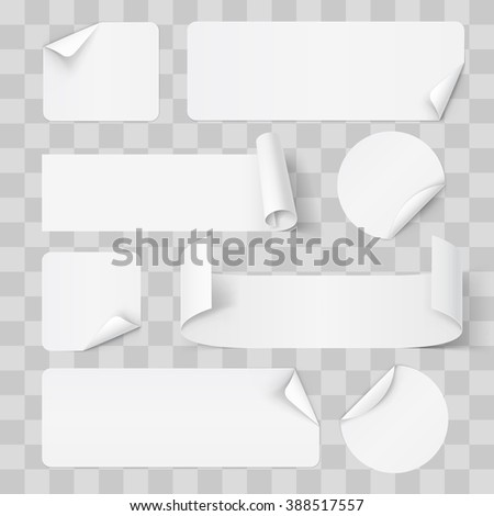 Raster version. Big Set of White Paper Stickers on Transperent Background