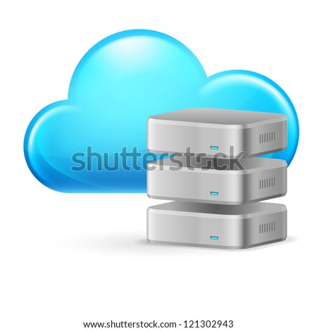 Raster version. Cloud computing and remote Database. Illustration on white