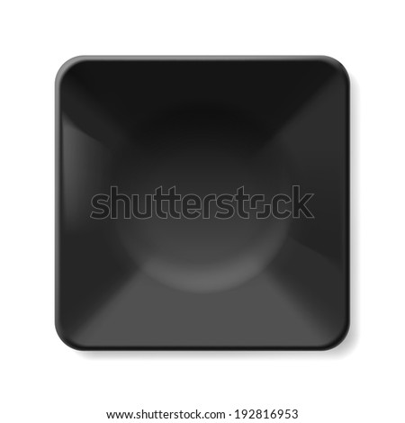 Raster version. Empty black soup-plate isolated on white background