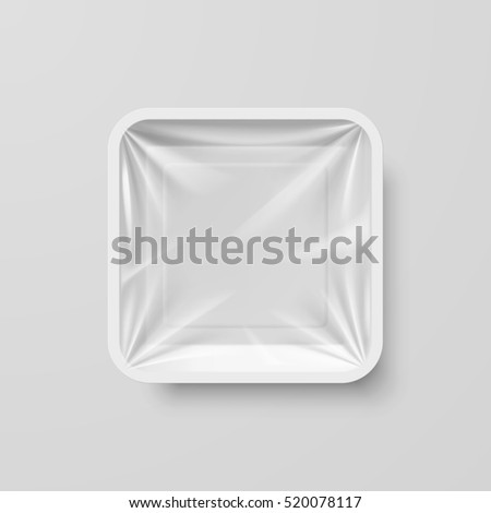 Raster version. Empty White Plastic Food Square Container on Gray