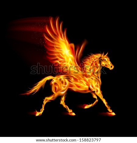 Raster version. Fire Pegasus in motion on black background.