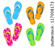 Raster version. Flip flop set. Illustration on white background - stock photo