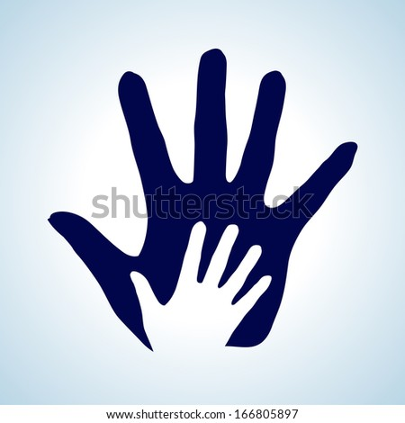 Raster version. Hand in hand illustration in white and blue as symbol of help, assistance and cooperation.