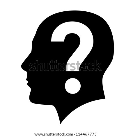 Raster version. Human head with question mark symbol on white