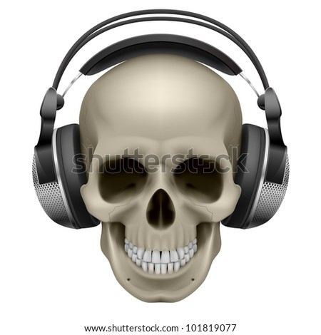 Raster version. Human skull with music headphones. Illustration on white