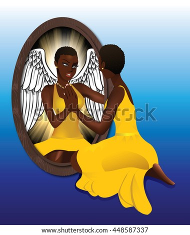 Raster version Illustration of a woman seeing her reflection with confidence.