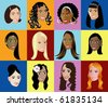 Raster version Illustration of 12 different women, available in other versions. - stock photo