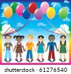 Raster version Illustration of 6 happy kids under a rainbow with a colorful background and a place for text or imagery. - stock vector