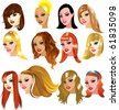 Raster version Illustration of White Women Faces. Great for avatars, makeup, skin tones or hair styles of Caucasian women. - stock photo