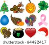 Raster version Illustration. Set of 12 Holiday Icons. - stock photo