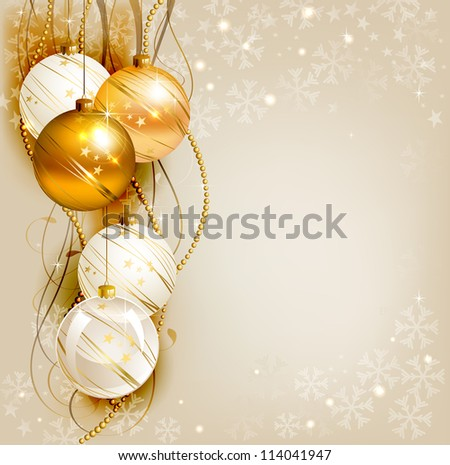 raster version of elegant Christmas background with gold and white evening balls
