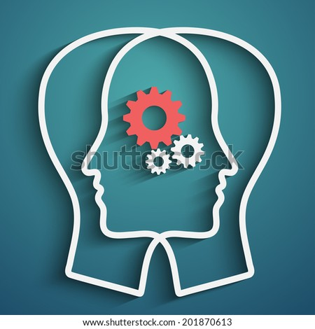 Raster version of Human head  with set of gears as a symbol work of brain,