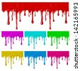 Raster version of vector border of paint drips of different colors. (can be repeated and scaled in any size) - stock