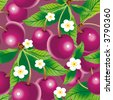 Raster version of vector cherry background (seamless pattern) - stock photo