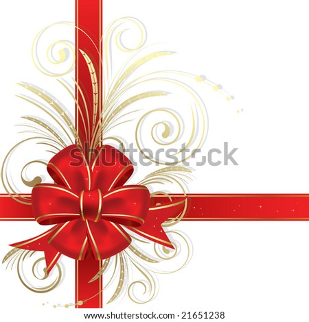Raster version of vector red christmas bow on a white background