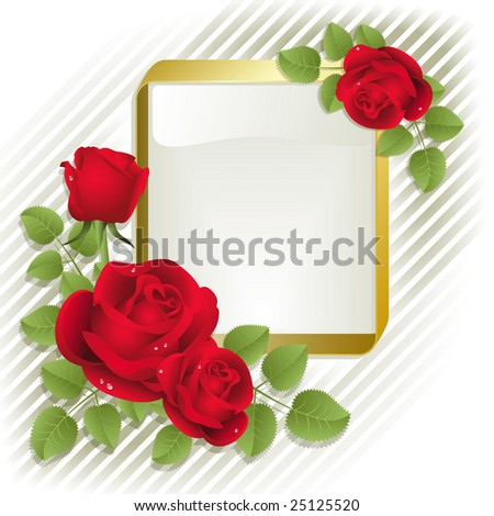Raster version of vector red roses with gold frame on a white background