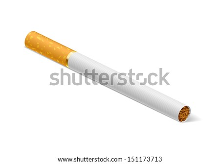Raster version. Realistic cigarette. Illustration on white background for creative design.