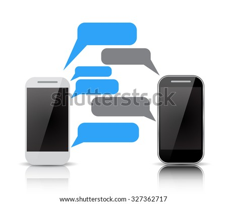 Raster version. Realistic two smartphones with blank speech bubbles on the screen. Using mobile smart phone for text messaging