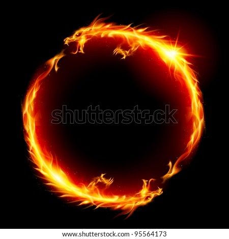 Raster version. Ring of Fire of the Dragon. Illustration on white background.
