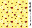 Raster version. Seamless ladybug pattern. Illustration of a designer on a yellow background - stock photo