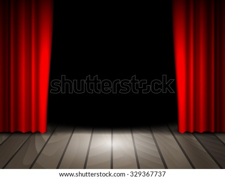 Raster version. Theater stage with wooden floor and red curtains. .