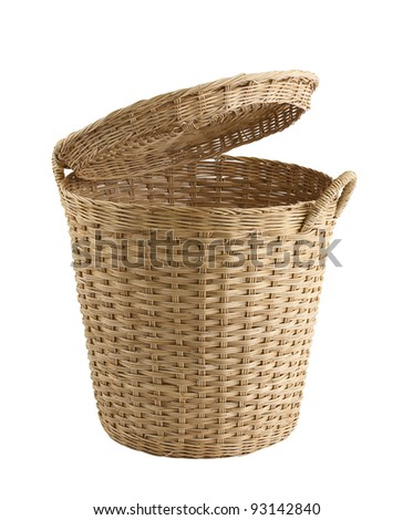 Rattan basket to carry stuff fruit vegetable or others isolated on white