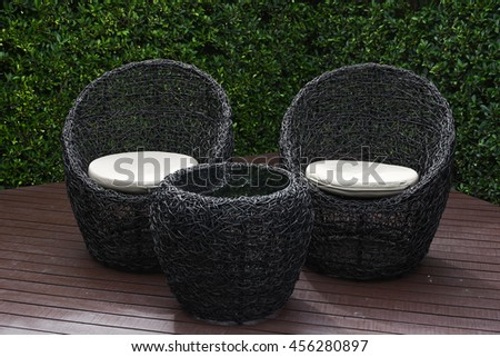 Exceptional Rattan Garden Table And Chairs With Water Resistant Outdoor. Patio Furniture  In A Beautiful Garden