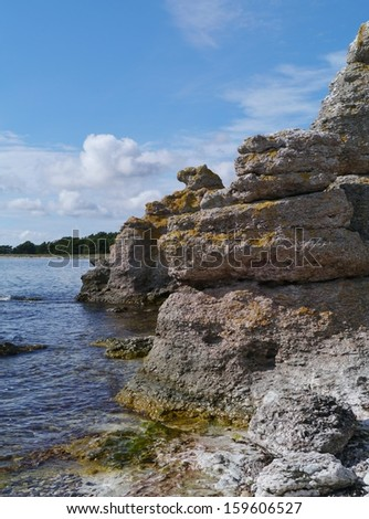 Raukars at the coast of the island Gotland in the Baltic sea of Sweden