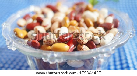 raw beans,different types isolated on a homey background